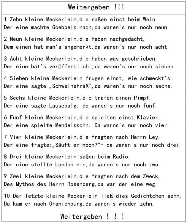 Zehn kleine Meckerlein_Flugblatt